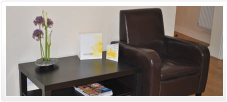 Picture of chair in the waiting area in ph7 Hairworks and Beauty based in Pusdey and Farsely, Leeds, West Yorkshire
